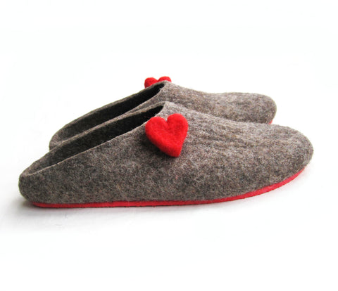 Womens Eco Friendly Felt Mules Love Heart Contrast Sole