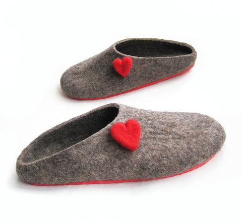 Handmade Wool Mule Slippers Love Hearts