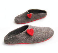Womens Eco Friendly Felt Mules Love Heart Contrast Sole - Wool Walker  - 3