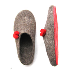 Womens Eco Friendly Felt Mules Love Heart Contrast Sole - Wool Walker  - 4