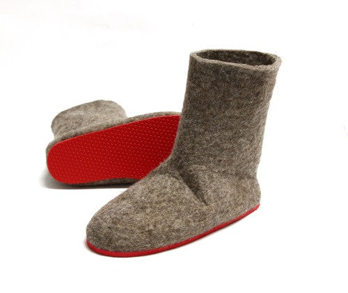 Womens Eco Friendly Felt Booties Contrast Sole - Wool Walker  - 2