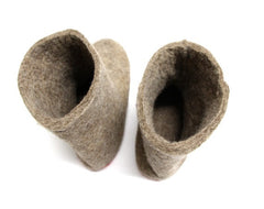 Womens Eco Friendly Felt Booties Contrast Sole - Wool Walker  - 3