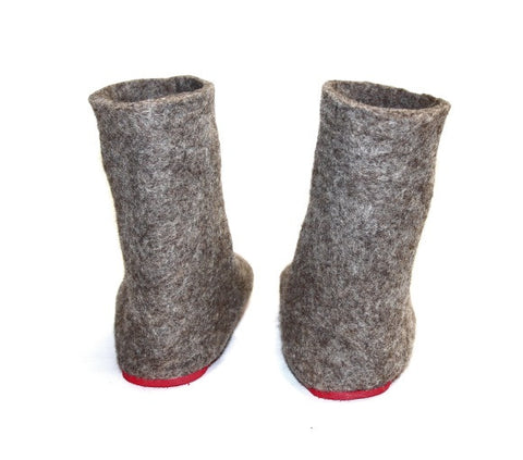 Womens Eco Friendly Felt Booties Contrast Sole