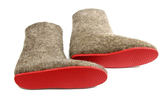 Womens Eco Friendly Felt Booties Contrast Sole - Wool Walker  - 5