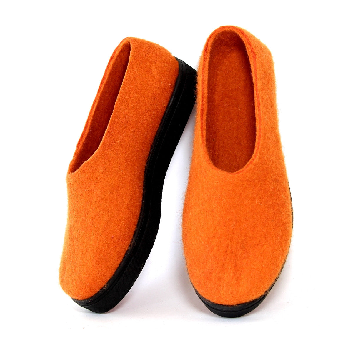 Handmade Felted Wool Felted Slippers Orange
