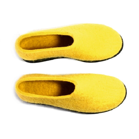 Wool Felt Moccasins Citrus Yellow