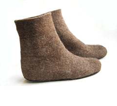 Womens Eco Friendly Felt Booties Contrast Sole - Wool Walker  - 8