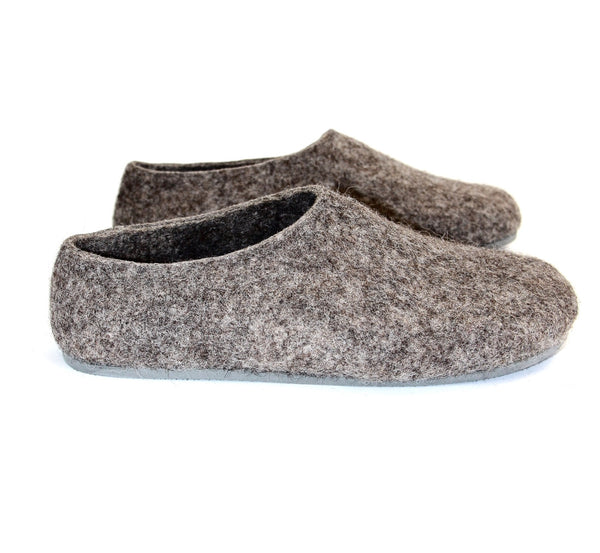 Womens Eco Friendly Felted Slippers Color Rubber Sole - Wool Walker  - 1