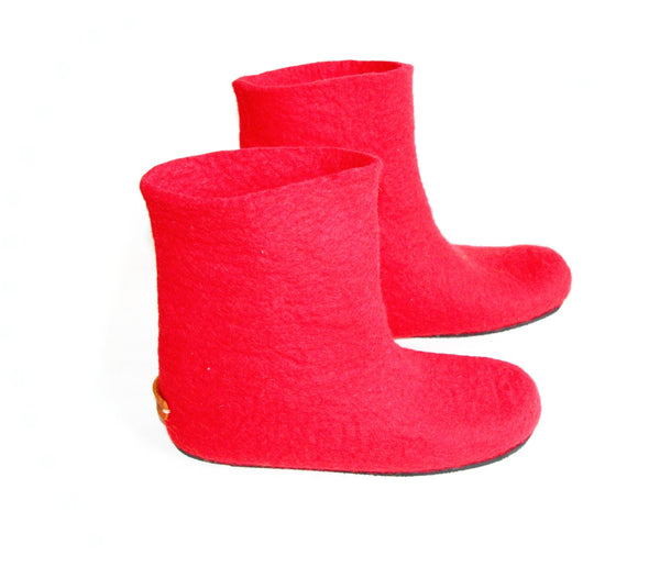 Womens Felt Boots Red Contrast Rubber Sole - Wool Walker  - 2