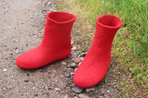 Womens Felt Boots Red Contrast Rubber Sole