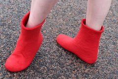 Womens Felt Boots Red Contrast Rubber Sole - Wool Walker  - 3