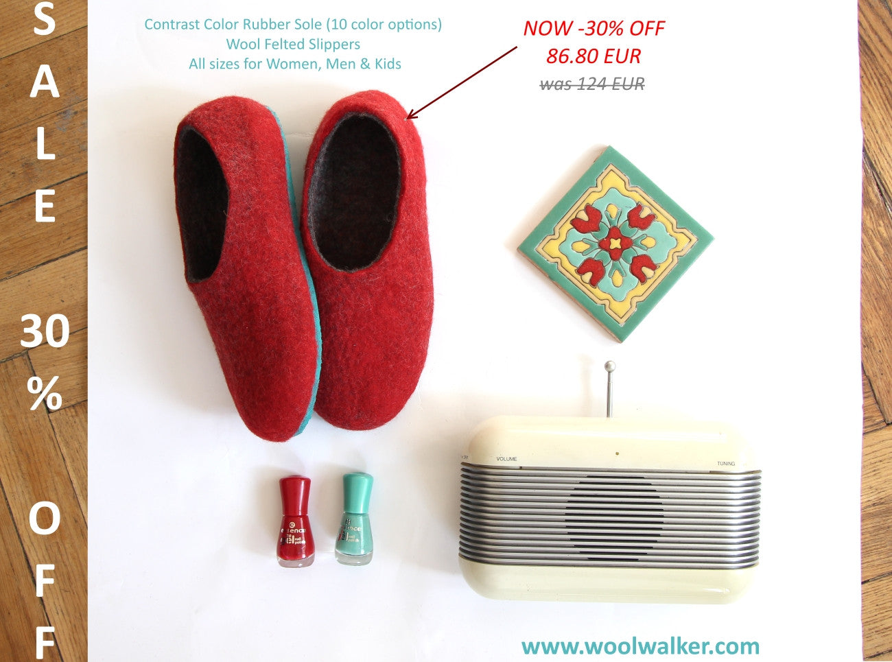 Womens Two Tone Felted Slippers Turquoise Red Contrast Sole - Wool Walker  - 7