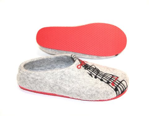 Womens Felted Slippers Grey Personalized Music Contrast Sole