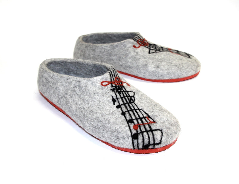 Womens Felted Slippers Grey Personalized Music Contrast Sole - Wool Walker  - 1