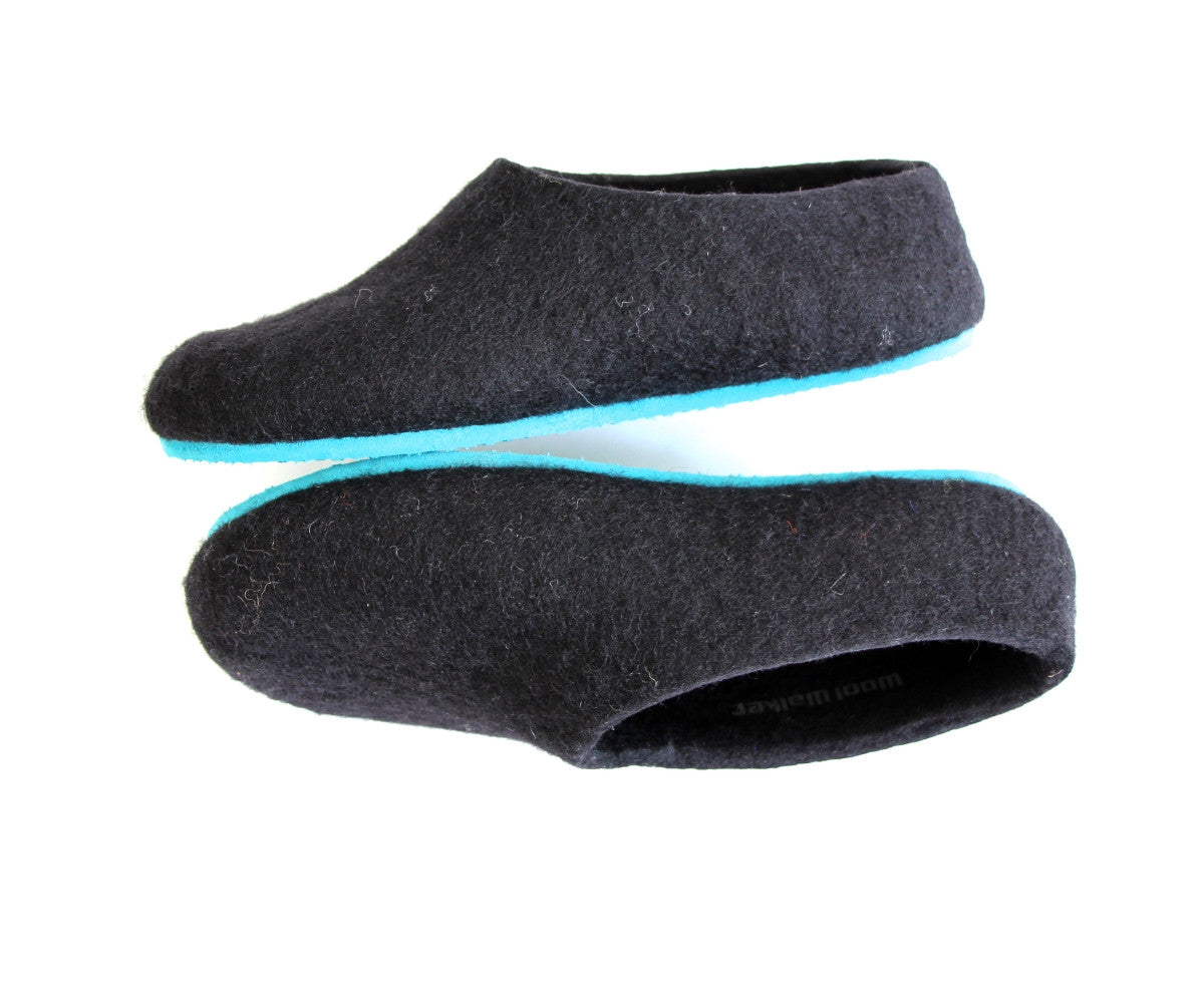 Womens Felted Wool Slippers Black Contrast Color Sole - Wool Walker  - 1