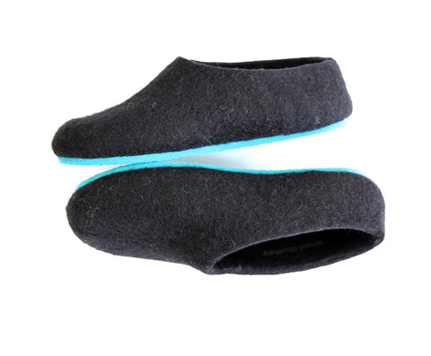 Womens Felted Wool Slippers Black Contrast Color Sole