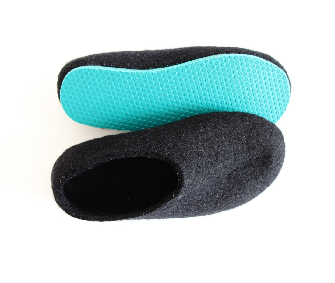 Womens Felted Wool Slippers Black Contrast Color Sole - Wool Walker  - 3
