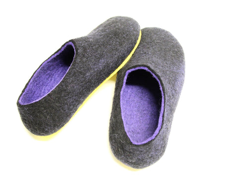 Womens Two Tone Felted Slippers Black Indigo Contrast Sole