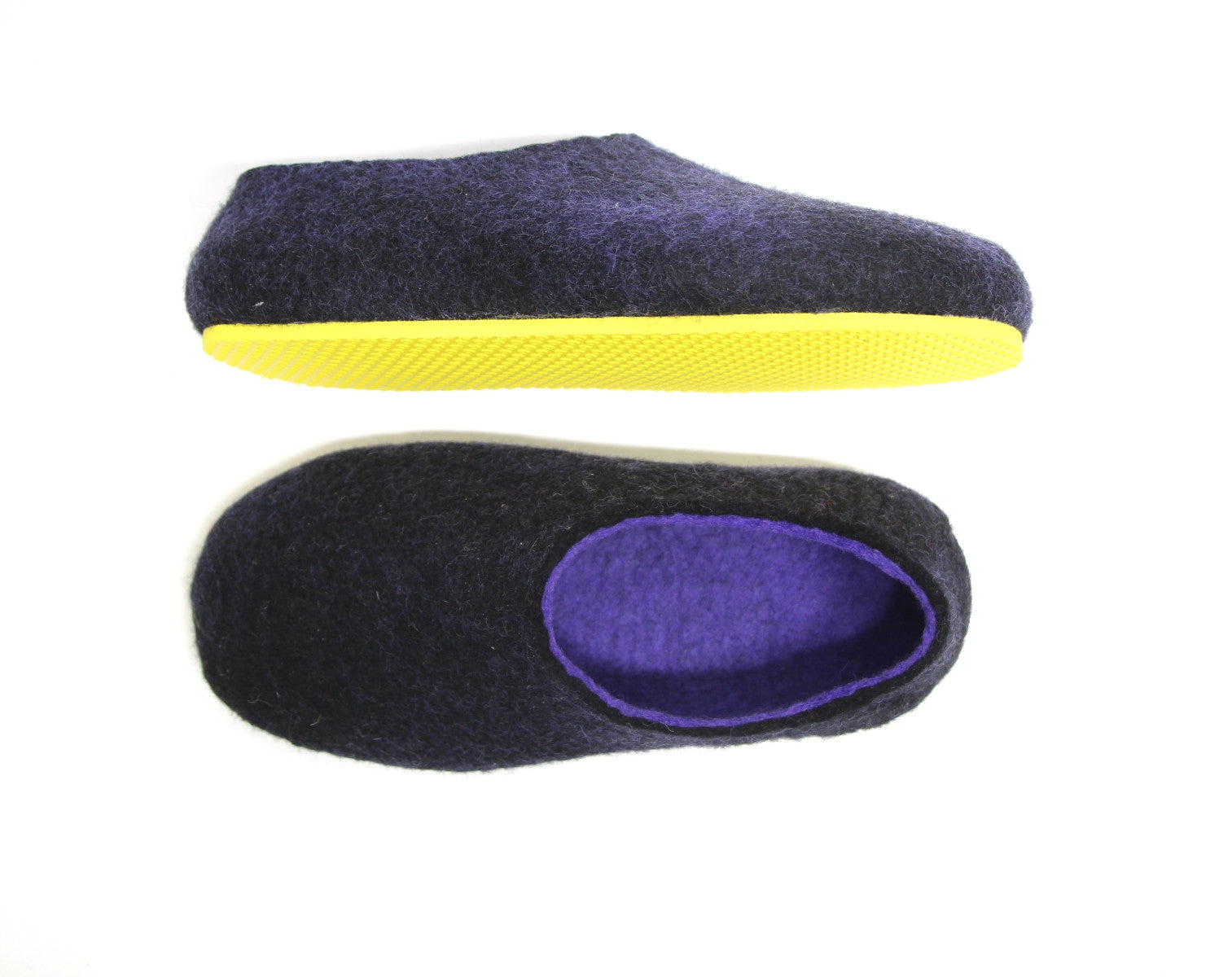 Womens Two Tone Felted Slippers Black Indigo Contrast Sole - Wool Walker  - 2