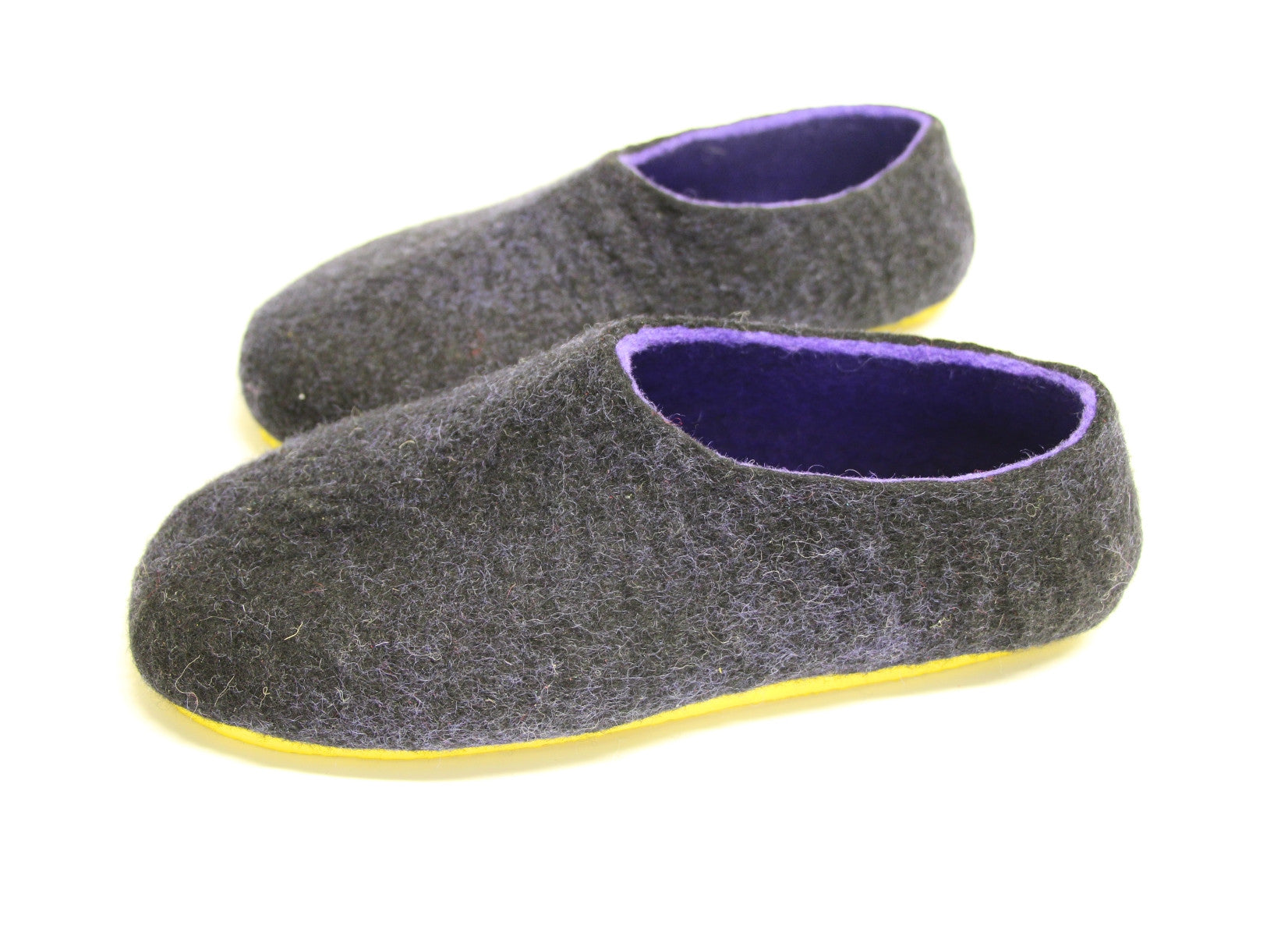 Womens Two Tone Felted Slippers Black Indigo Contrast Sole - Wool Walker  - 3