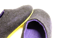 Womens Two Tone Felted Slippers Black Indigo Contrast Sole - Wool Walker  - 4