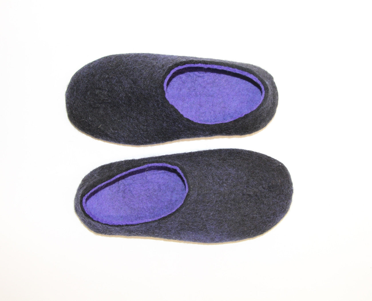 Womens Two Tone Felted Slippers Black Indigo Contrast Sole - Wool Walker  - 7