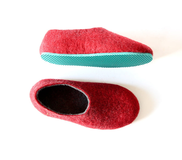 Womens Two Tone Felted Slippers Turquoise Red Contrast Sole - Wool Walker  - 1