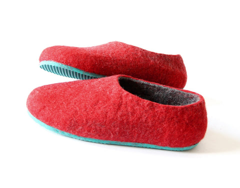 Womens Two Tone Felted Slippers Turquoise Red Contrast Sole