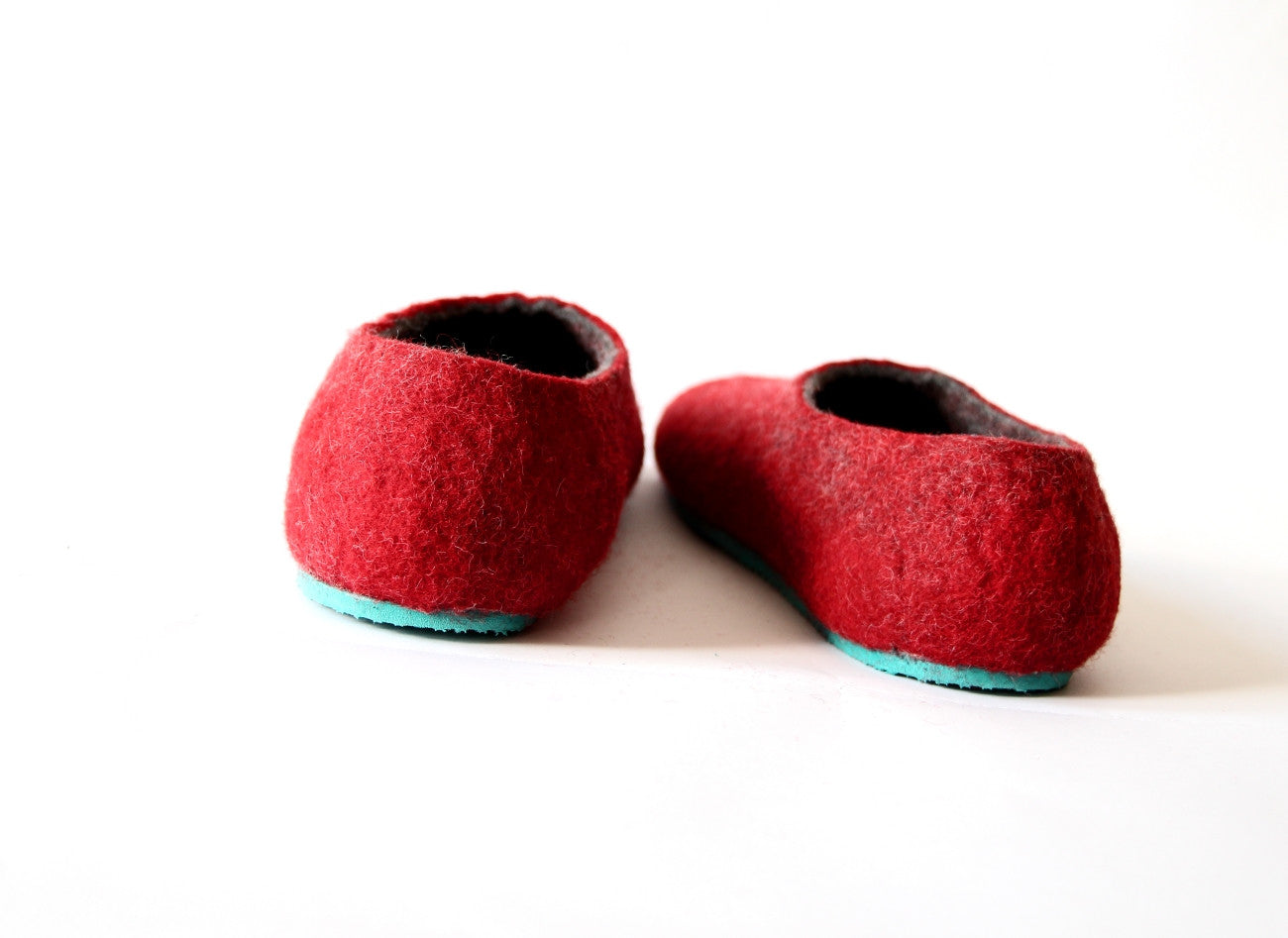 Womens Two Tone Felted Slippers Turquoise Red Contrast Sole - Wool Walker  - 3