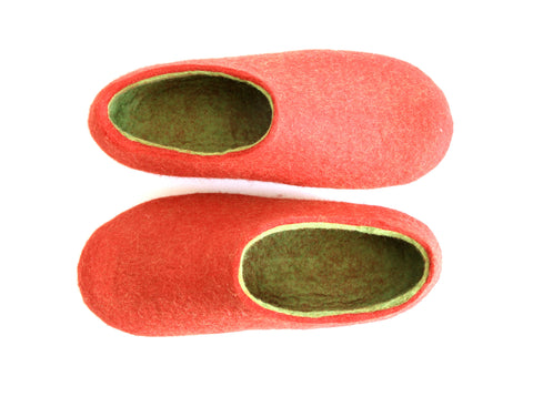 Womens Wool Felted Slippers Strawberry Red Sole