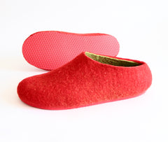Womens Wool Felted Slippers Strawberry Red Sole - Wool Walker  - 4
