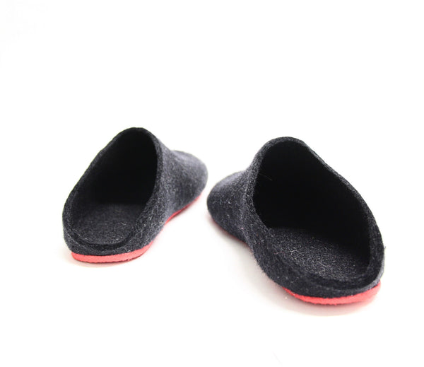 Womens Felt Mules Black Contrast Sole - Wool Walker  - 2