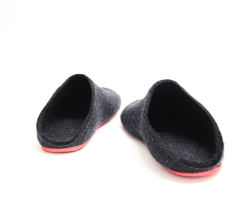 Womens Felt Mules Black Contrast Sole