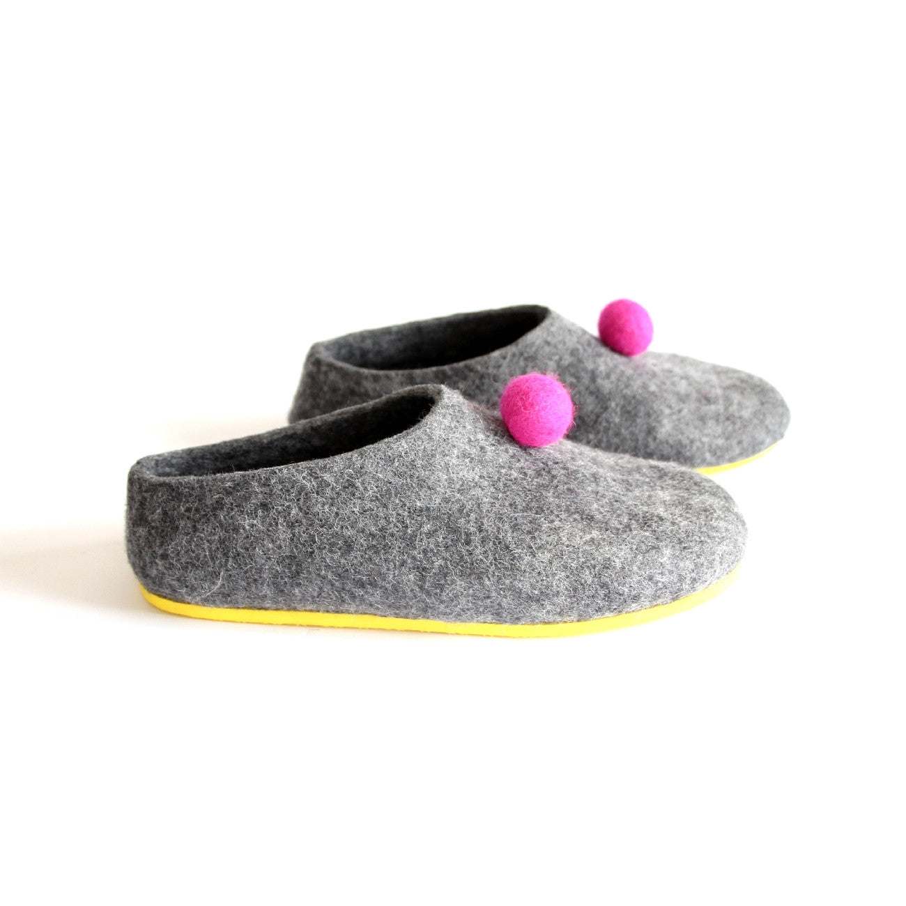 Womens Color Rubber Soled Felted Slippers Pom Pom Dots - Wool Walker  - 4