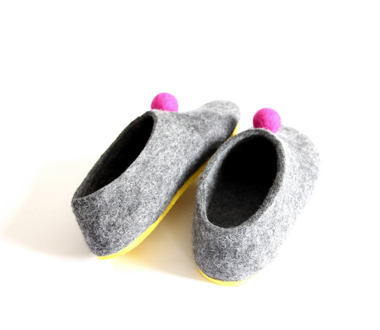 Womens Color Rubber Soled Felted Slippers Pom Pom Dots - Wool Walker  - 3