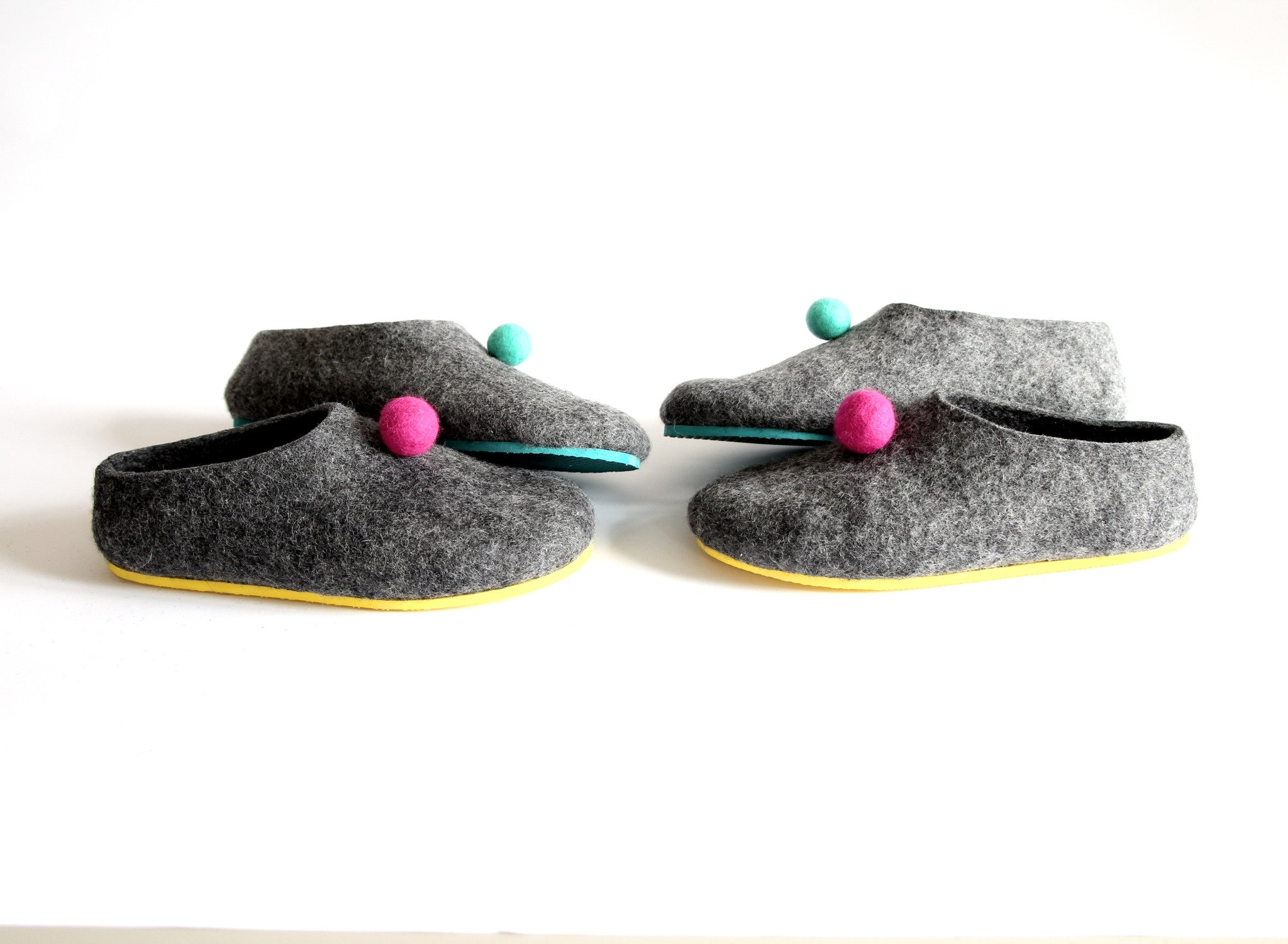 Womens Color Rubber Soled Felted Slippers Pom Pom Dots - Wool Walker  - 5