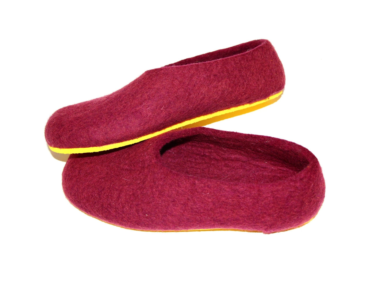 Womens Wool Felted Slippers Marsala Red Wine Contrast Sole - Wool Walker  - 1