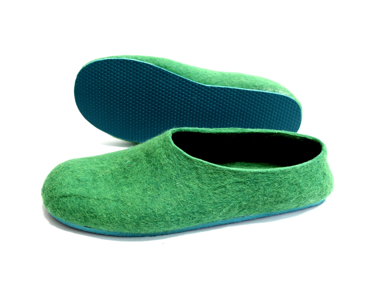 Mens Felt Slippers Green Tree Top Contrast Sole - Wool Walker  - 1
