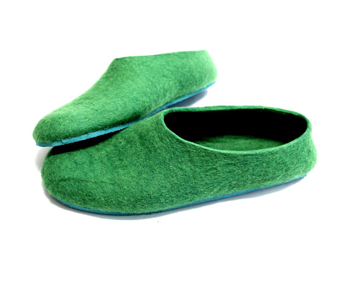 Mens Felt Slippers Green Tree Top Contrast Sole
