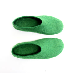 Mens Felt Slippers Green Tree Top Contrast Sole - Wool Walker  - 3