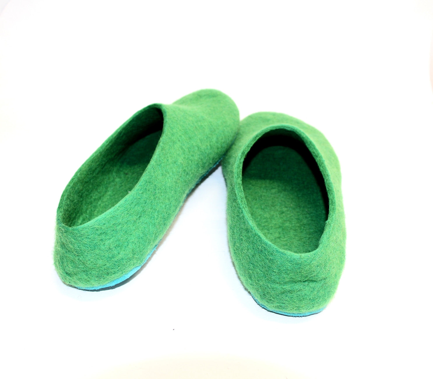 Mens Felt Slippers Green Tree Top Contrast Sole - Wool Walker  - 4