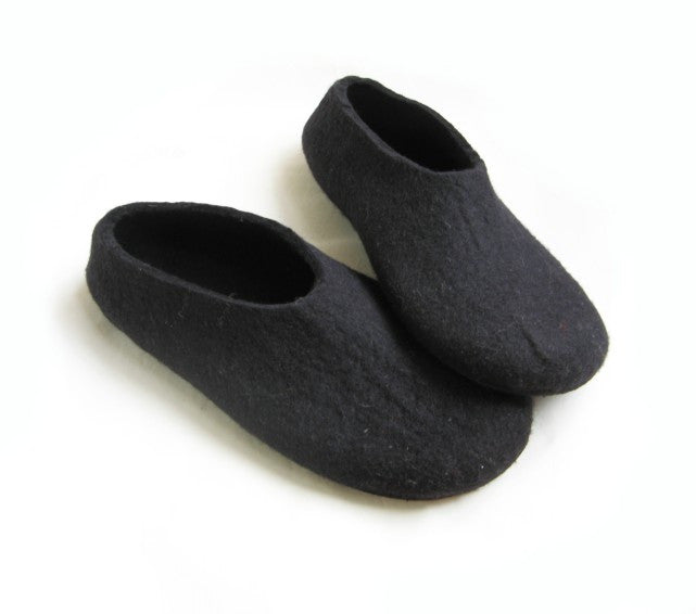 Mens Felt Slippers Black with Contrast Color Sole - Wool Walker  - 1