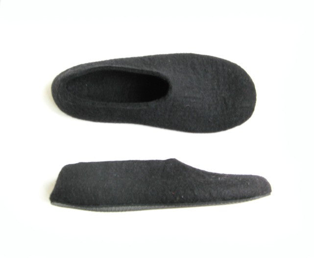 Mens Felt Slippers Black with Contrast Color Sole - Wool Walker  - 3