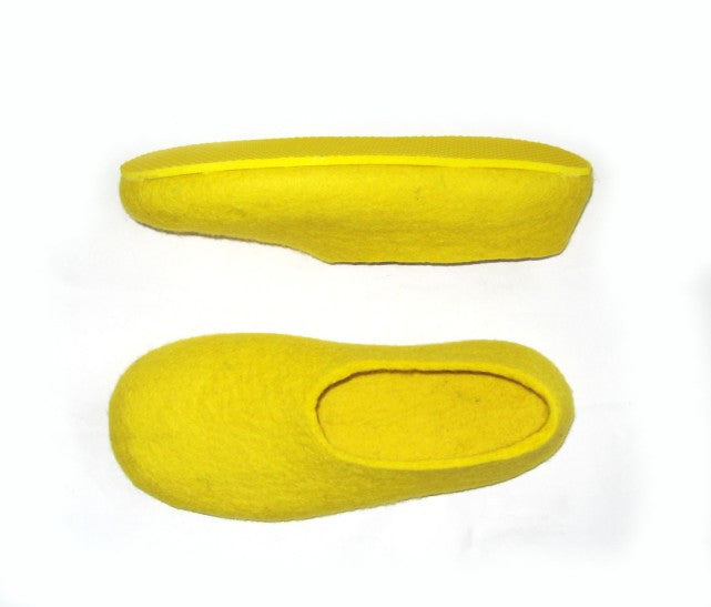 Mens Felt Slippers Yellow Banana Colour Sole - Wool Walker  - 2