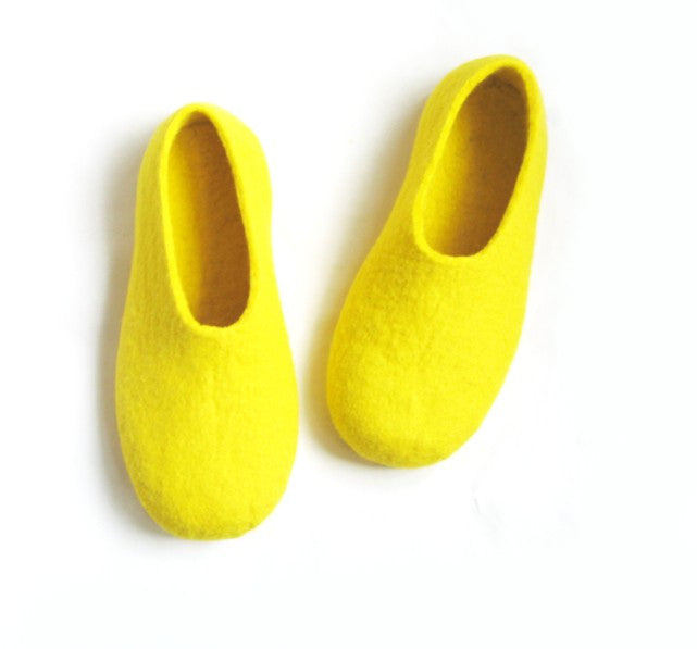 Mens Felt Slippers Yellow Banana Colour Sole - Wool Walker  - 1