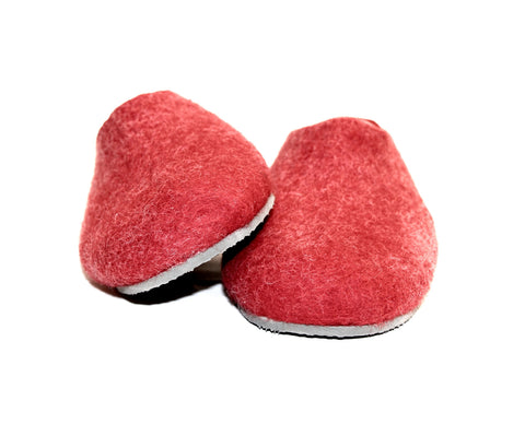Womens Felt House Shoes Red White Color Sole