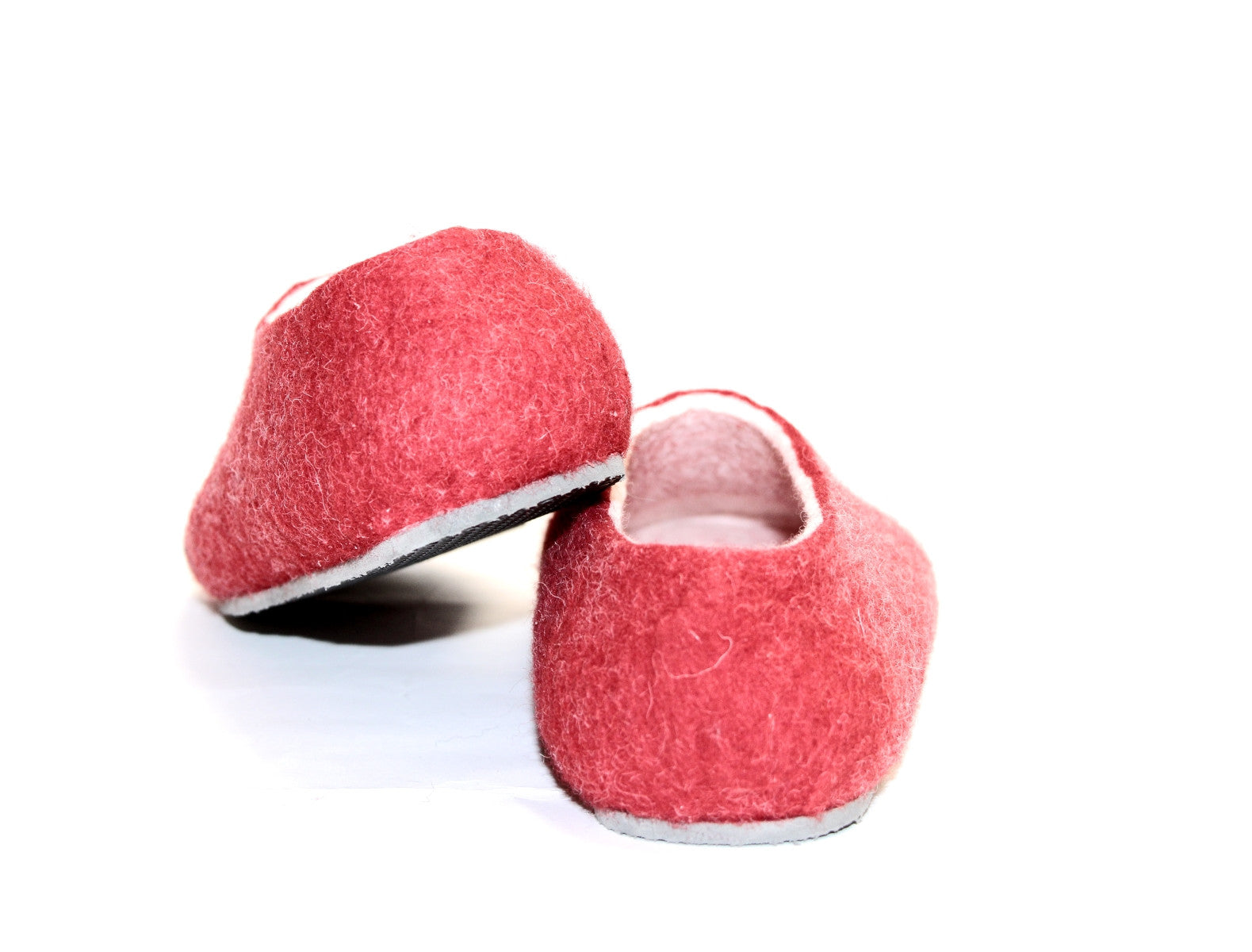 Womens Felt House Shoes Red White Color Sole - Wool Walker  - 5