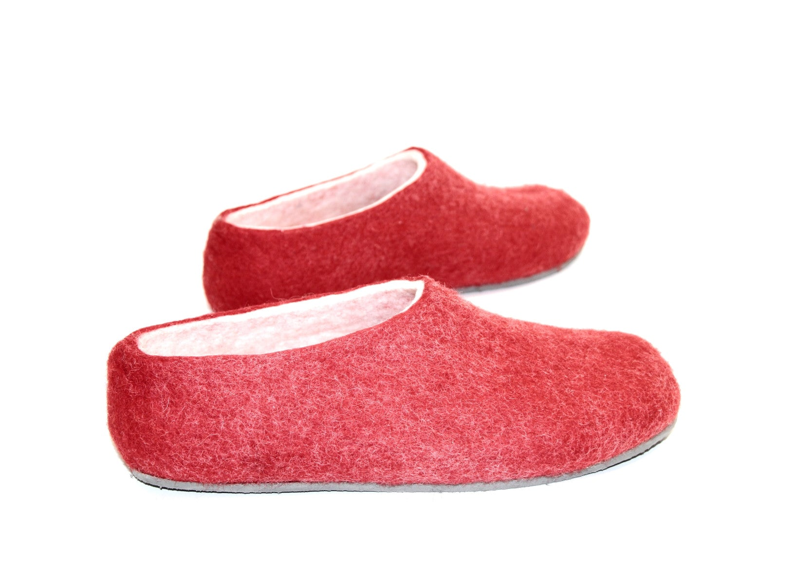 Womens Felt House Shoes Red White Color Sole - Wool Walker  - 1