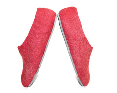 Womens Felt House Shoes Red White Color Sole - Wool Walker  - 2