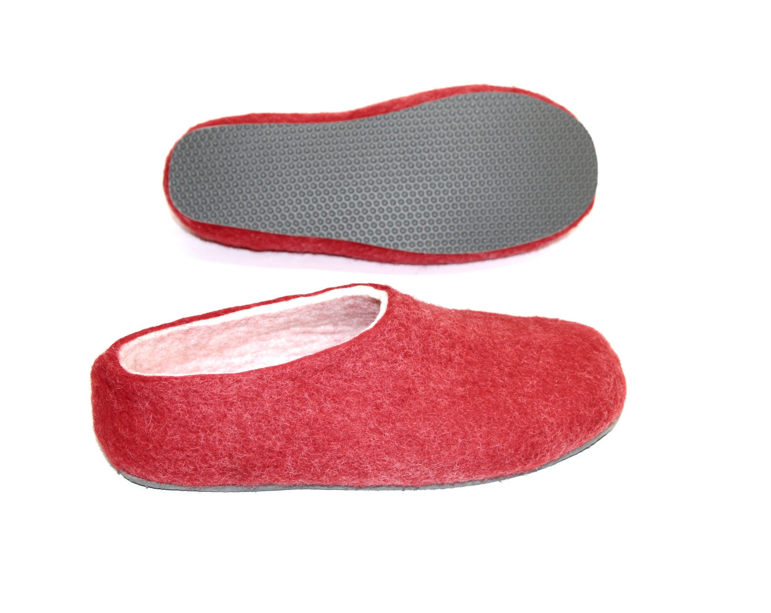 Womens Felt House Shoes Red White Color Sole - Wool Walker  - 3